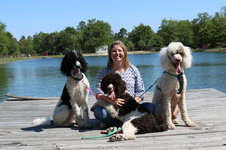 Casey with poodles